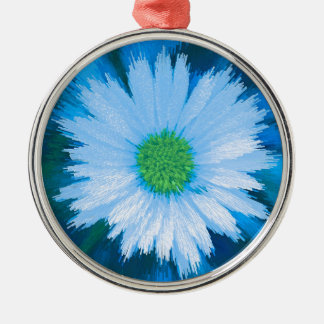 Ice Blue Flower Silver-Colored Round Decoration
