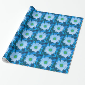 Ice Blue Flower Wrapping Paper