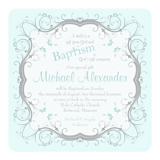 Ice Blue Grey Scroll Floral Baptism Invitation