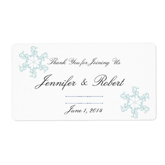 Ice Blue Heart Snowflake Wedding Water Label Shipping Label
