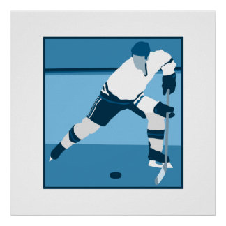 Ice Blue Hockey Logo Poster