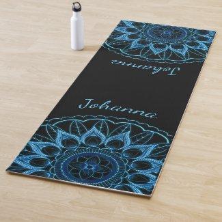 Ice Blue Mandala Flower Yoga Mat