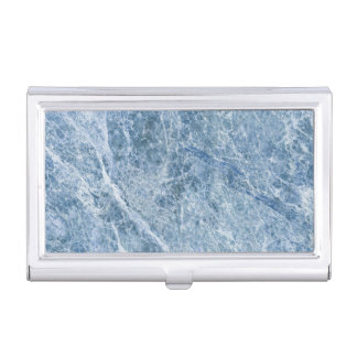 Ice Blue Marble Texture Business Card Holder