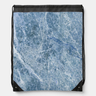 Ice Blue Marble Texture Drawstring Bag