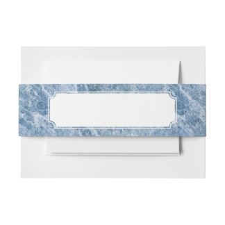 Ice Blue Marble Texture Invitation Belly Band