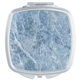 Ice Blue Marble Texture Mirror For Makeup