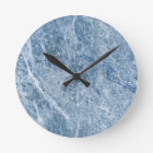 Ice Blue Marble Texture Round Clock