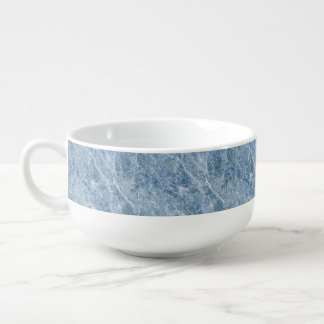 Ice Blue Marble Texture Soup Bowl With Handle