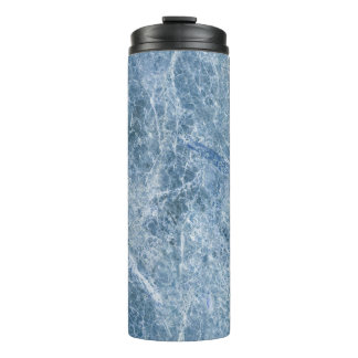 Ice Blue Marble Texture Thermal Tumbler