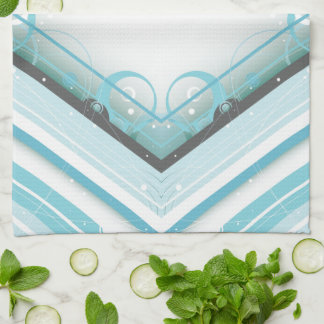 Ice Blue Modern-Retro Stripe Diamond with Monogram Tea Towel