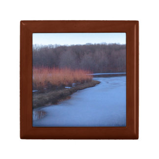Ice Blue Pond and Red Bushes - Gift Box