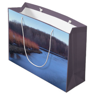 Ice Blue Pond and Red Bushes Large Gift Bag