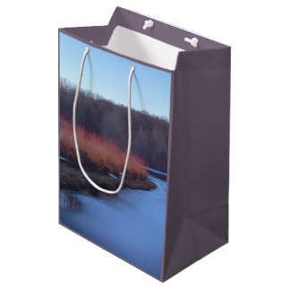 Ice Blue Pond and Red Bushes - Medium Gift Bag