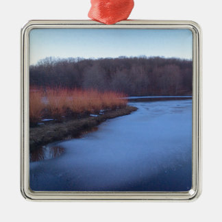 Ice Blue Pond and Red Bushes - Silver-Colored Square Decoration