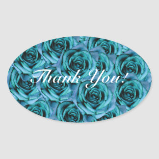 Ice Blue Roses Thank You Sticker
