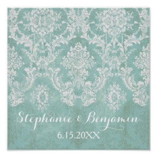Ice Blue Rustic Damask Pattern Wedding Poster