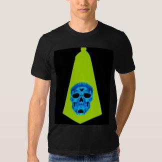 Ice Blue Skull on Green Clown Tie Tshirts