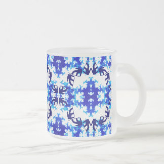 Ice Blue Snowboarder Sky Tile Snowboarding Sport Frosted Glass Coffee Mug