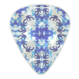 Ice Blue Snowboarder Sky Tile Snowboarding Sport Pearl Celluloid Guitar Pick