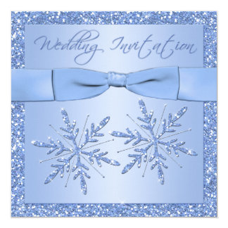 Ice Blue Snowflakes Square Wedding Invitation