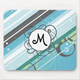 Ice Blue & Teal Modern-Retro Stripes with Monogram Mouse Pad