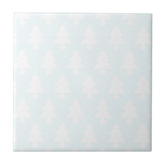 Ice Blue Trees Small Square Tile
