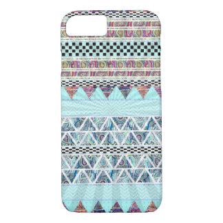 Ice Blue Tribal Stripes Starburst Pattern iPhone 7 Case