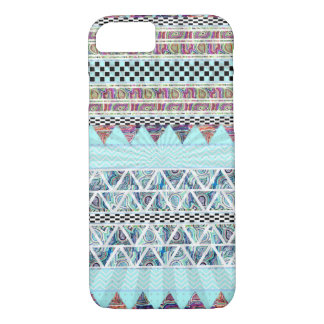 Ice Blue Tribal Stripes Starburst Pattern iPhone 8/7 Case