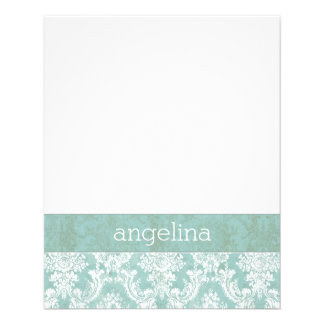 Ice Blue Vintage Damask Pattern with Grungy Finish 11.5 Cm X 14 Cm Flyer