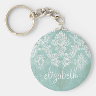 Ice Blue Vintage Damask Pattern with Grungy Finish Basic Round Button Key Ring
