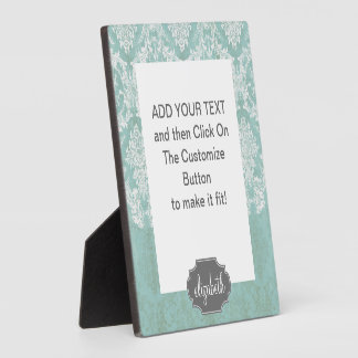 Ice Blue Vintage Damask Pattern with Grungy Finish Display Plaques