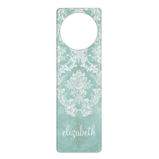 Ice Blue Vintage Damask Pattern with Grungy Finish Door Hanger