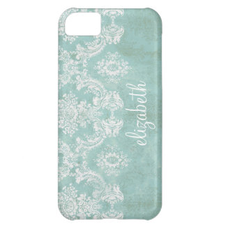 Ice Blue Vintage Damask Pattern with Grungy Finish iPhone 5C Case