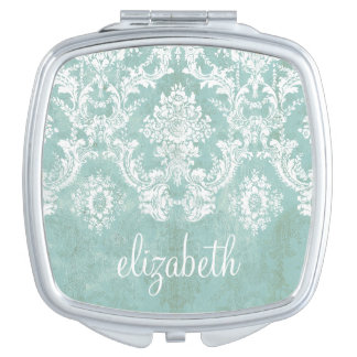Ice Blue Vintage Damask Pattern with Grungy Finish Makeup Mirrors