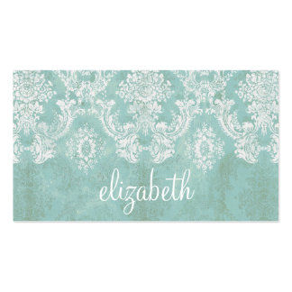 Ice Blue Vintage Damask Pattern with Grungy Finish Pack Of Standard Business Cards