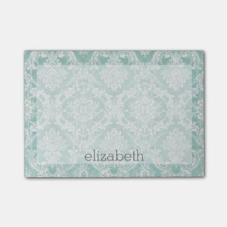 Ice Blue Vintage Damask Pattern with Grungy Finish Post-it Notes