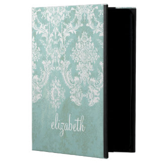 Ice Blue Vintage Damask Pattern with Grungy Finish Powis iPad Air 2 Case