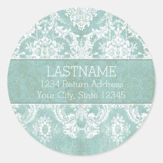 Ice Blue Vintage Damask Pattern with Grungy Finish Round Sticker