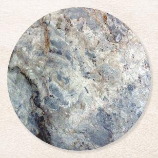 Ice blue white marble stone finish round paper coaster