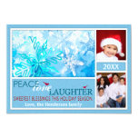 Ice Blue & White Snowflakes Holiday Photo Card Personalized Announcement