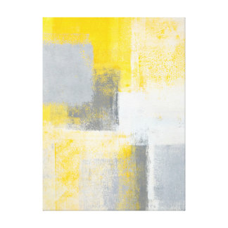 'Ice Box' Grey and Yellow Abstract Art Canvas Print