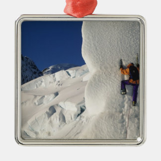Ice climbing on the Tasman Glacier below Mount Christmas Ornament