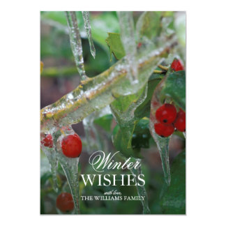 Ice-coated holly berry shrubs after storm 13 cm x 18 cm invitation card