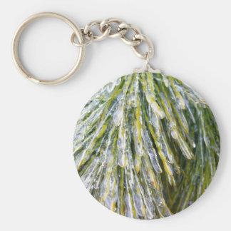 Ice-Coated Pine Needles Winter Nature Photography Basic Round Button Key Ring