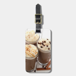 Ice coffee with whipped cream and coffee beans bag tag