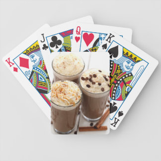Ice coffee with whipped cream and coffee beans bicycle playing cards