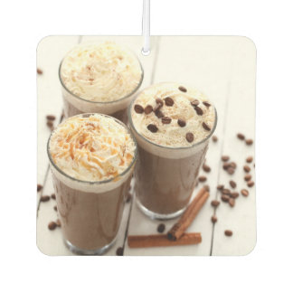 Ice coffee with whipped cream and coffee beans car air freshener