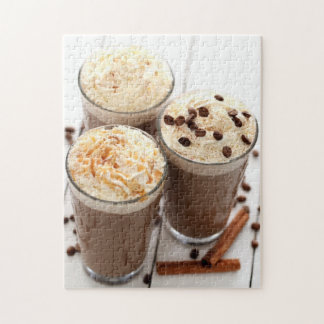 Ice coffee with whipped cream and coffee beans jigsaw puzzle