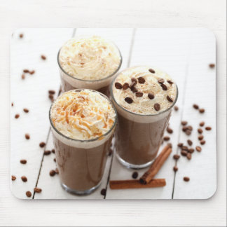 Ice coffee with whipped cream and coffee beans mouse mat