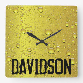 Ice Cold Beer Personalized Square Wall Clock
